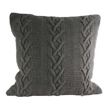 Hand Knitted 100 Cotton Cushion Covers Square Scatter Case Paoletti Luxury 55 X 55cm Aran Grey