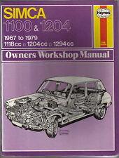 Simca 1100 & 1204 1967-1979 inc. Dodge 1100 Van & Pickup Haynes Workshop Manual