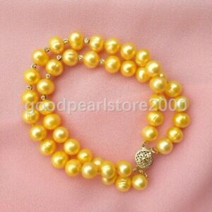 """2 Rows Golden Yellow 7.5-8"""" South Sea 8-9mm Pearl Ball Bracelet 14K Gold P Clasp"""
