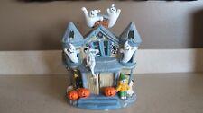 Halloween Haunted House Tea Light Ceramic Candle Holder Partylite P7311 w Box