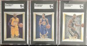 2012 Panini Select #54 Kobe Bryant SGC 9 Bonus Curry & Duncan Lot of 3