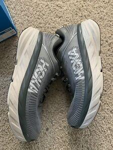 Hoka One One Bondi 7 Mens Sneaker Shoes Size 10 4E Extra Wide Gray & White $150