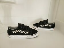 VANS - KIDS OLD SKOOL V SHOES, Hook & Loop, Suede, Black, Size Boys 10