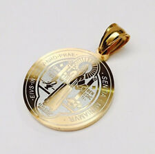 Two Tone (Silver & Yellow) Stainless Steel St Benedict Medal / Pendant (Round)