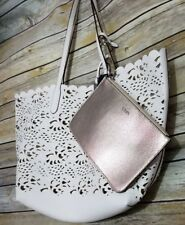 Chaps Reversible Alicia Women's White or Shimmery Gold Tote w/ Make-Up Pouch New