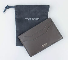 NWT TOM FORD Gray Smooth 100% Leather Card Holder Wallet $250