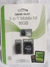 Dane Elec 16gb MicroSDHC Memory Card With USB And Sd Adapter - DA-3IN1C416GT3-C