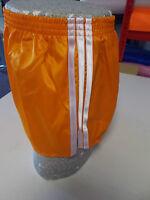 Retro Nylon Satin Football Shorts S - 4XL, Orange - White