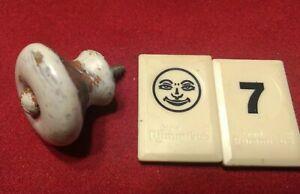 """1 Vintage White Porcelain Cabinet Knob Drawer Pull Hardware ~ 1 1/4"""" ~ BJ7 - BK"""