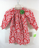 NWT Le Za Me Red Geometric Print Bishop Dress Girl's Size 5