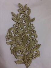 Or motif floral fer/coudre sur brodé fleur embellissement applique 19.1x10c