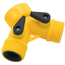 Yellow Plastic Wash Down Double Hose Y Connector with Shut Offs for Boats