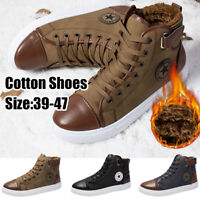Men's Oxfords Casual Lace-Up High Top Leather Shoes Fur-lined Warmer Ankle Boots