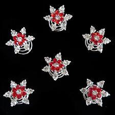6 épingles spirales twister cheveux mariage mariée fleur cristal rouge blanches