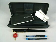 Vintage Unused Parker Sonnet Fountain Pen 18k F Nib Black Laquer Gold Trim, Box