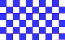 ROYAL BLUE AND &  WHITE CHECKERED CHECK FLAG 3X2 feet 90cm x 60cm FLAGS SPORT