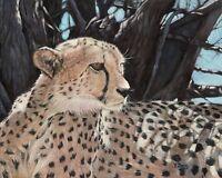 Giclée fine art print of oil painting Cheetah on Somerset velvet paper, wildlife