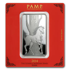 100 gram Silver Pamp Suisse Lunar Year of the Horse Bar - In Assay - SKU #78607