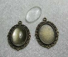 2 bronze picture setting oval pendant frames glass domes 18 x 25 mm cabochons