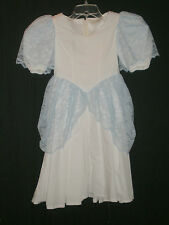 Girls Blue Lace on White Cotton Princess SS Dress Sz 10 B:29 W:26 H:54 L:35.5