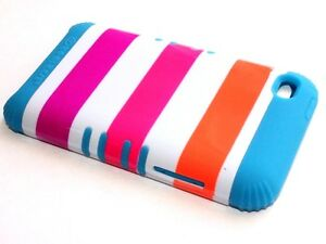 iPod Touch 4th Gen -HARD & SOFT RUBBER HYBRID IMPACT CASE TEAL BLUE PINK STRIPES