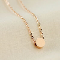 18K Rose Gold Filled Women's 5mm Cute Round Pendant Charm Necklace Chain Gift