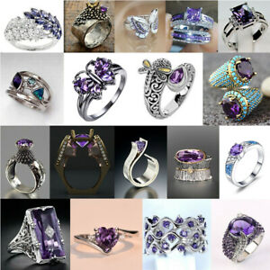 925 Silver Rings Gorgeous Women Amethyst Wedding Ring Gift Party Jewelry Sz 6-10