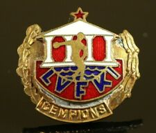 USSR SOVIET LATVIA Sports University CHAMPION Enamel Screwback Badge #898