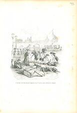 Colonie de Fourmis Bateau Locomotive Cité ANTHROPOMORPHISME 1842 GRAVURE ANTIQUE