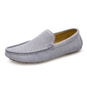 Mens Loafers Casual Boat Shoes Slip On Hollow Out Breathable Flats