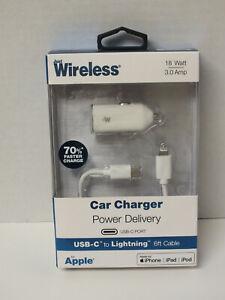Just Wireless 18 Watt Car Charger USB-C Port to Lightning 6ft for Apple -White