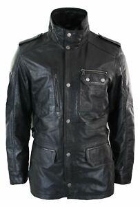 Mens 3/4 Tailored Fit Safari Parka Jacket Genuine Real Leather Military Black