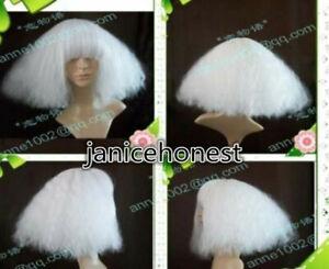 COS Wig New Wig LADY GAGA White Wig Hair Short Fluffy Wig Broom Head