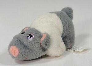 "Vintage 1990s Galoob Pound Puppies Piggies Plush 3.5"" Baby Pig- Gray & White"