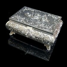 EXQUISITE Queen Anne Antique Style Silver Mirror Jewellery Box Padlock/Key Gift
