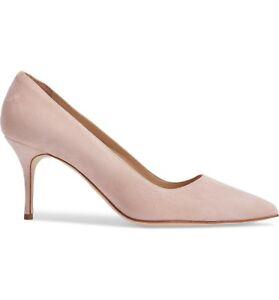 """NIB Manolo Blahnik BB 70"""" Blush Pink Suede Pointed Toe Pump Shoes Sz 35.5 - 5"""