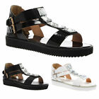 LADIES WOMENS ANKLE STRAP T-BAR SUMMER LOW HEEL FASHION SHOES SANDALS SIZE 3-8