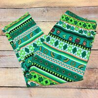 Saint St. Patrick's Day leggings juniors M 7-9 leprechaun shamrocks capri length