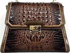 ❤BRAHMIN BRINLEY SATCHEL BRUNELLO BRONZE GOLD CROC LEATHER ~ TEXTURE TOP HANDLE❤