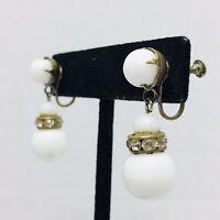 Milk Glass Vintage Earrings Screwback White Rhinestone Beaded Dangle