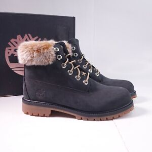 """Size 6Y Youth / Women's 7.5 Timberland 6"""" Premium Waterproof Boots Fur Black"""