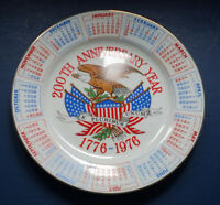 vintage USA bicentennial anniversary year calendar  collectors plate 4th July