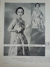1955  Bonwit Teller Framed Water Color Hadley Cashmere Coat Fashion Ad