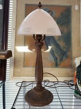 1930's French Art Deco Pink Frosted Glass Mushroom Shade Copper Base Table Lamp