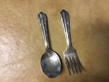 Set of Pair Of Antique Baby Sterling Silver Fork And Spoon
