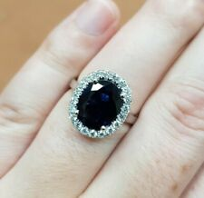 18k WHITE GOLD OVAL CUT NO HEAT 3.70 ct BLUE SAPPHIRE & 0.42ct DIAMOND HALO RING