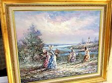 Beautiful Idyllic Original Painting Textured Oil Signed by Artist Marie Charlot