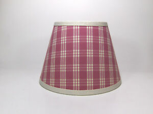 Country Waverly Pink Off White Cream Cranston Plaid Fabric Lampshade Lamp Shade