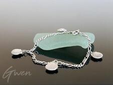 Ancien Bracelet Chaine Figaro Argent 835 Fermoire 925 Breloque Coquillage Charm