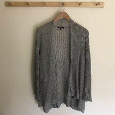Eileen Fisher Grey Knitted Cardigan 100% Linen Women's Size Small Open Front